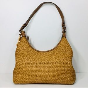Fossil Vintage Woven Straw Leather Bag